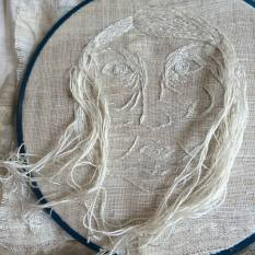 """Imogen Di Sapia """"Mother:Land """" cotton embroidery on silk, cloth of gold & linen."""