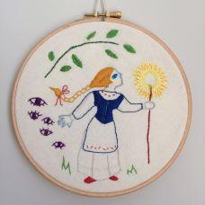 Lily Waugh 'Vasilisa's light through the forest' Hand embroidery cotton on calico