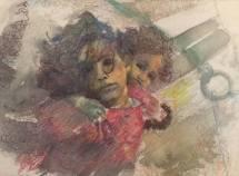"Liza Stevens ""Refugee Girls"" A3 Machine Embroidery"