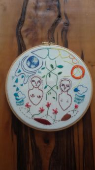 Lily Waugh 'stitching the elements' hand embroidery cotton on calico